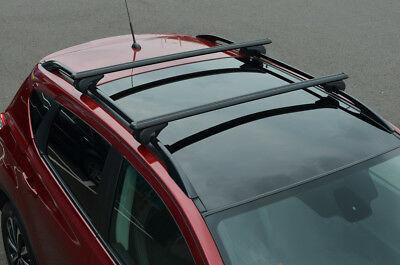 Black Cross Bars For Roof Rails To Fit Seat Ateca (2016+) 100KG Lockable