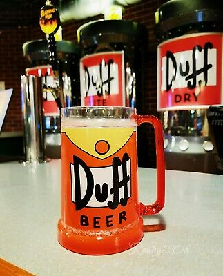 "NEW Universal Studios The Simpsons Duff Beer Mug Bar Cup ""Crushed Ice"" 16oz"