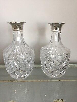 Beautiful Pair Antique Cut Crystal Decanters