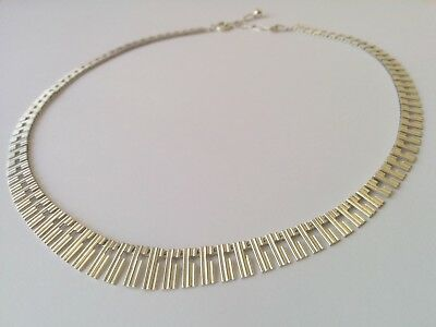 "Sterling Silver Graduated Necklace Choker Collar, Vintage, Hallmarked,15.5"" plus"