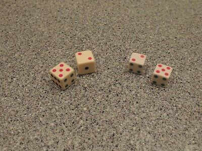 """Vintage Tri Color Spot Celluloid Dice Set of 5/8"""" and Set of 3/4"""""""