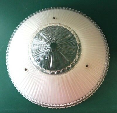 Antique Light Fixture Frosted Glass-Art Deco Period-Hanging Ceiling Chandelier