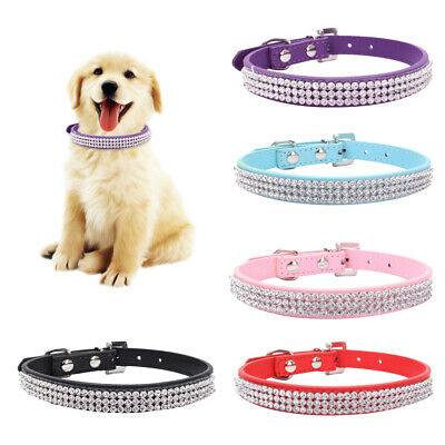 Adjustable Dog Collar| Pet Cat Puppy | Bling PU leather |Rhinestone Diamante