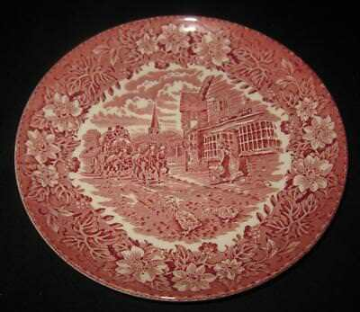 Royal Tudor Ware 1828 Staffordshire COACHING TAVERNS Red Pink Oversize Saucer