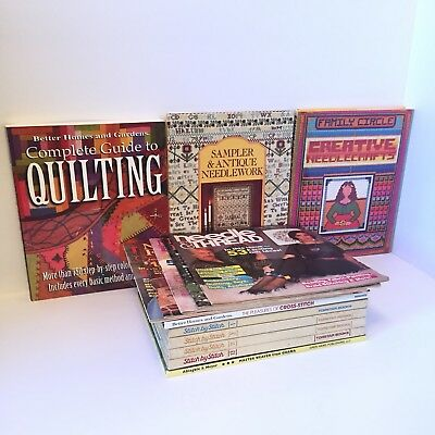 Book Lot of 14 Sampler Antique Needlework Guide To Quilting Cross-Stitch Pattern