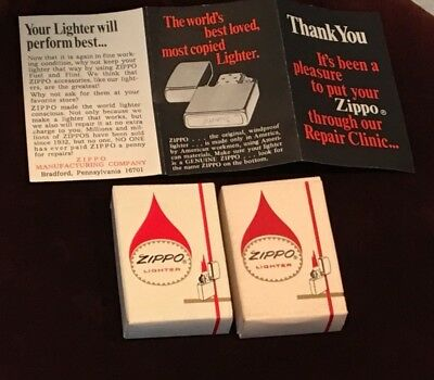 Vintage Lot of 2 Zippo Lighter Empty Boxes with Phamplet