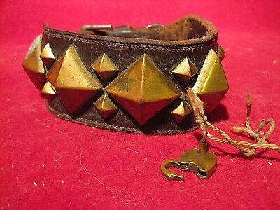 Antique Brass & Leather Dog Collar with Tiny Padlock & Key