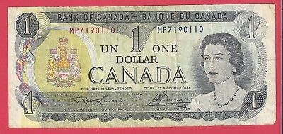 Canada Canadian Paper Money Note $1 One Bill 1973