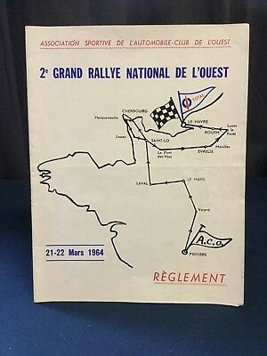 Rare Reglement Course 2e Rallye National De L'Ouest 1964 !!!!!