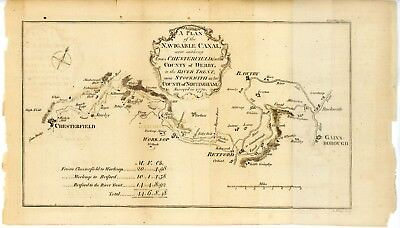 Antique English Canal Plan Map 1772