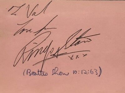 Beatles Ringo Starr Authentic Signed Album Page from 1963. Tracks Certified.