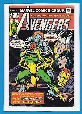 Avengers #135_May 1975_F/vf_Ultron_Thanos_Vision_Human Torch_Bronze Age Marvel!