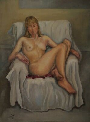 "WOLFE - signed oil on board 1960s - Seated female Nude ""KAREN"" - Modern British"