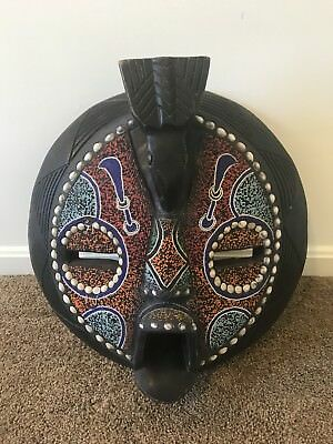 "African Beaded Mask with beaded inlay from Ghana about 20"" x 20"" Large Piece!"