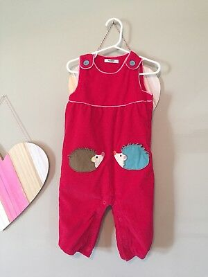 Baby Boden Hedge Hog Red Button Overalls, Size 12-18 Months