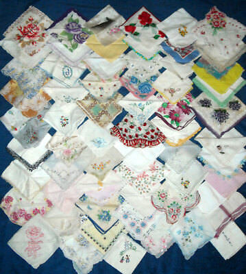 Vintage Lot 62 Cutter Craft Re-purpose Hankies Floral Tatted Embroidered