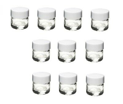 NEW (10 Pack) 5ml Small Glass Jars with White Plastic Lids
