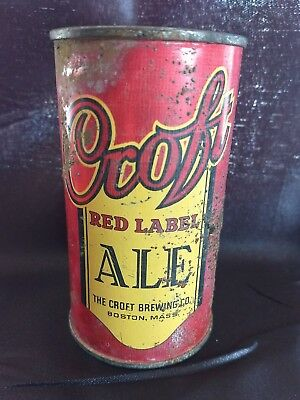 Rare!  Croft Red Label Ale Flat Top Beer Can