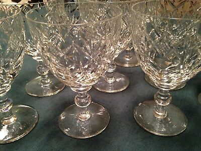 10 Antique Cut Crystal Water Goblets,Glasses, Ball Stem, 16 ounces