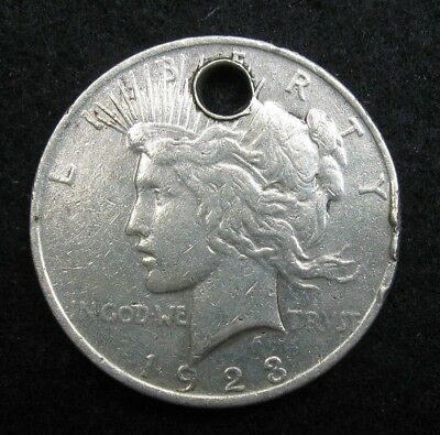 HOLED  -  1923 PEACE SILVER Dollar