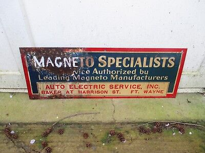 Vintage Magneto Specialists Auto Electric Repair Embossed Sign Ft Wayne,ind