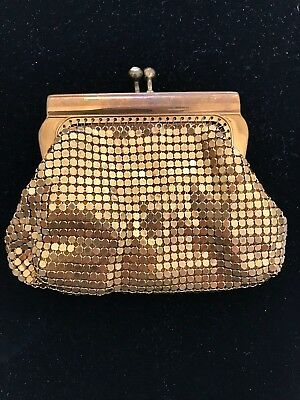 Vintage MESH gold Coin Purse Rhinestone Clasp West Germany Pretty!!!