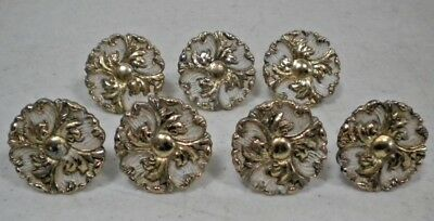 7 x Vintage French Provincial White & Gold Rosettes Drawer Knob Pull
