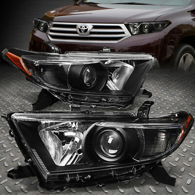 For 2011-2013 Toyota Highlander Black Housing Amber Corner Projector Headlight