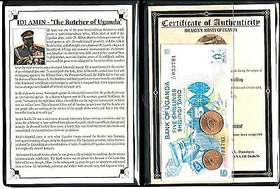 Idi Amin,The Butcher of Uganda Set of 2 coins & 1 banknote, Album & Certificate