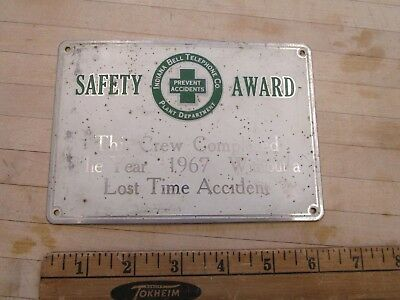 Vintage Indiana Bell Telephone Co Safety Award Sign Plaque, 1967