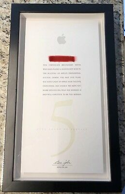 Steve Jobs Signature Apple Employee Five Years Service Certificate & Plaque