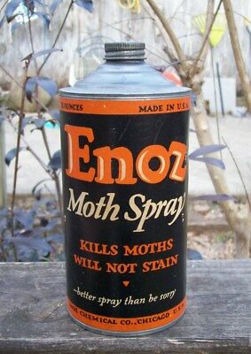 Vintage Enoz Moth Spray Tin Paper Labeled Can
