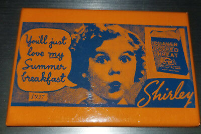 """1937 Shirley Temple Quaker Oats Mirror 3 1/8"""" by 2 1/8"""" Orange and Blue"""