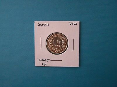 Switzerland Coins 1961 Year 1 Franc Nice Silver Coin.
