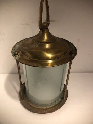 "Vtg Brass Etched Glass Shade 14"" Hanging Ceiling Light Pendant Fixture w Canopy"