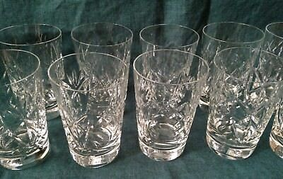 11 Antique Cut Crystal whiskey shot Glasses, 8 ounces