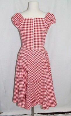 MUXXN Red Gingham 1950 Retro Vintage Inspired Cap Sleeve Party Swing Dress 2XL