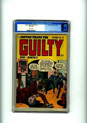 Justice Traps the Guilty #19 CGC 8.5 HIGH GRADE Headline Comic Crime OLD LABEL