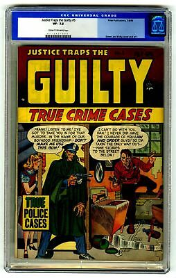 Justice Traps the Guilty #5 CGC 7.5 HIGH GRADE Prize Pub Comic Crime OLD LABEL