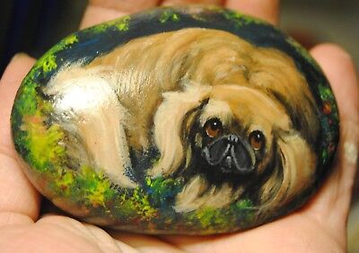 Original Painting~Pekingese~Dog~Hand Painted~SToNE~River ROCK~Whimsical~mini~art