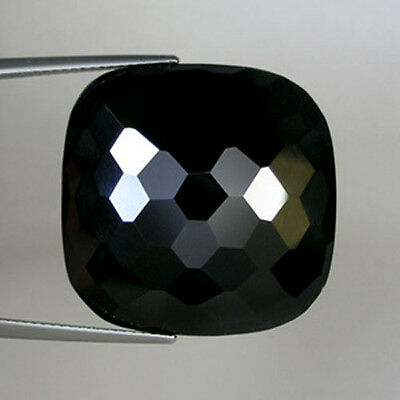31.10 cts  FINEST BLACK NATURAL ONYX _SQUARE CHECKER CUT _LOOSE GEMSTONE !