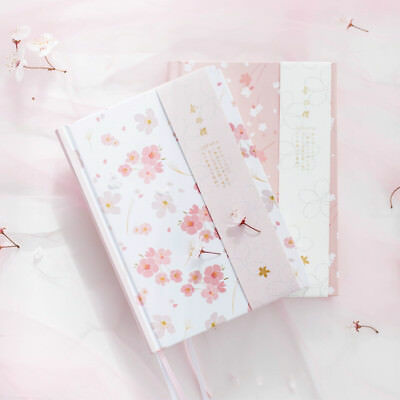 A5 Size Fresh Sakura Theme Colored Page Hardcover Notebook Blank Journal Diary