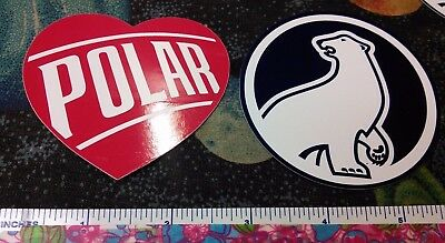 set of 2 different POLAR SODA stickers. HEART and BEAR