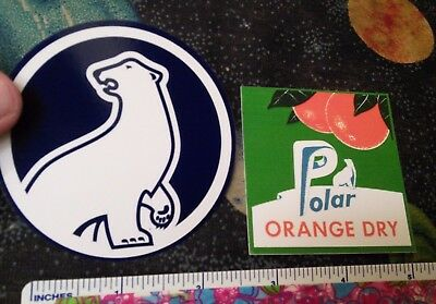 set of 2 different POLAR SODA stickers. ORANGE and BEAR