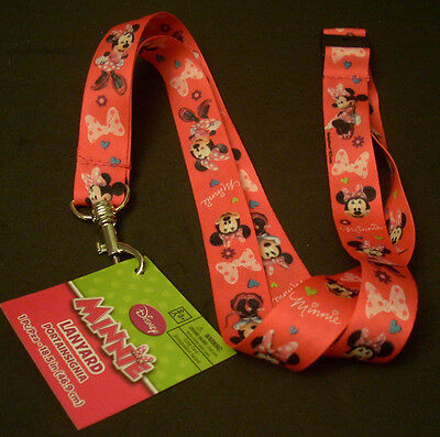 """Lot of 2 Disney Pin Trading Key ID Lanyards 18.5"""" Length Minnie Mouse"""
