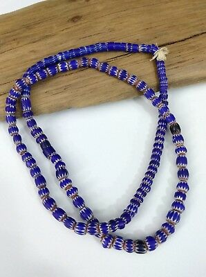 Chevron African Trade Bead Necklace ~ 6 and 4 Layer Beads with Original Tag ~Vtg