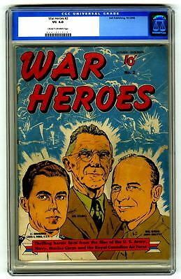 War Heroes #2 CGC 4.0 VINTAGE DELL Comic Military Golden Age 10c OLD LABEL