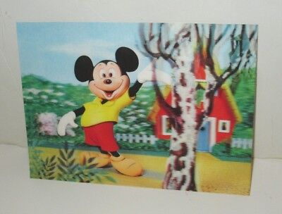 Vintage Disney 3-D Postcard Mickey Mouse Waving  Printed In Japan