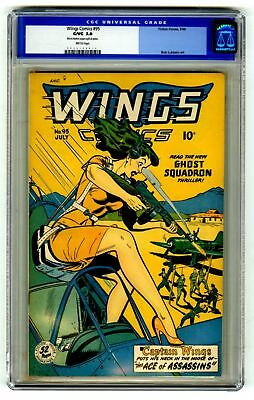 Wings Comics #95 CGC 3.0 VINTAGE Fiction House Comic Gold 10c GGA
