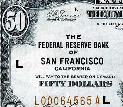 HGR SUNDAY 1929 $50 FRBN ((San Francisco)) Appears Near UNCIRCULATED